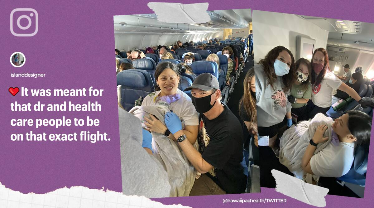 woman didnt know pregnant delivers in flight, child birth mid air, in flight baby birth, premature baby born delta flight, doctor nurses plane baby birth, indian express news