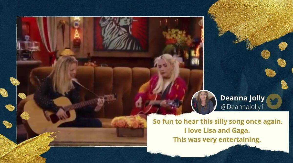 Lisa Kudrow's and Lady Gaga's Smelly cat duet, friends reunion special episode, Smelly cat song, Smelly cat lady gaga version, Phoebe and lady gaga Smelly cat, Smelly cat viral video, Friends sitcom, Friends reunion, Friends reunion smelly cat version, Viral video, Trending news, Indian Express news