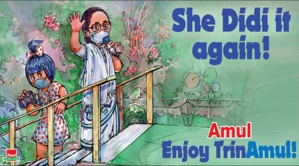 mamata banerjee, west bengal assemble election result, bengal polls, amul cartoon bengal election, mamata banerjee Amul cartoon, tmc win west bengal polls, trending news, india news, indian express