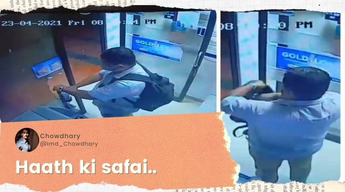 man steals sanitiser from atm, cctv atm sanitizer thief, sanitiser stolen from atm, viral videos, covid 19 pandemic, indian express