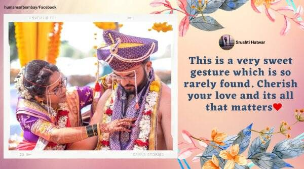 man wears mangalsutra, couple exhange mangalsutra, wedding gender inequality, mumbai couple wear mangalsutra, viral news, good news, indian express