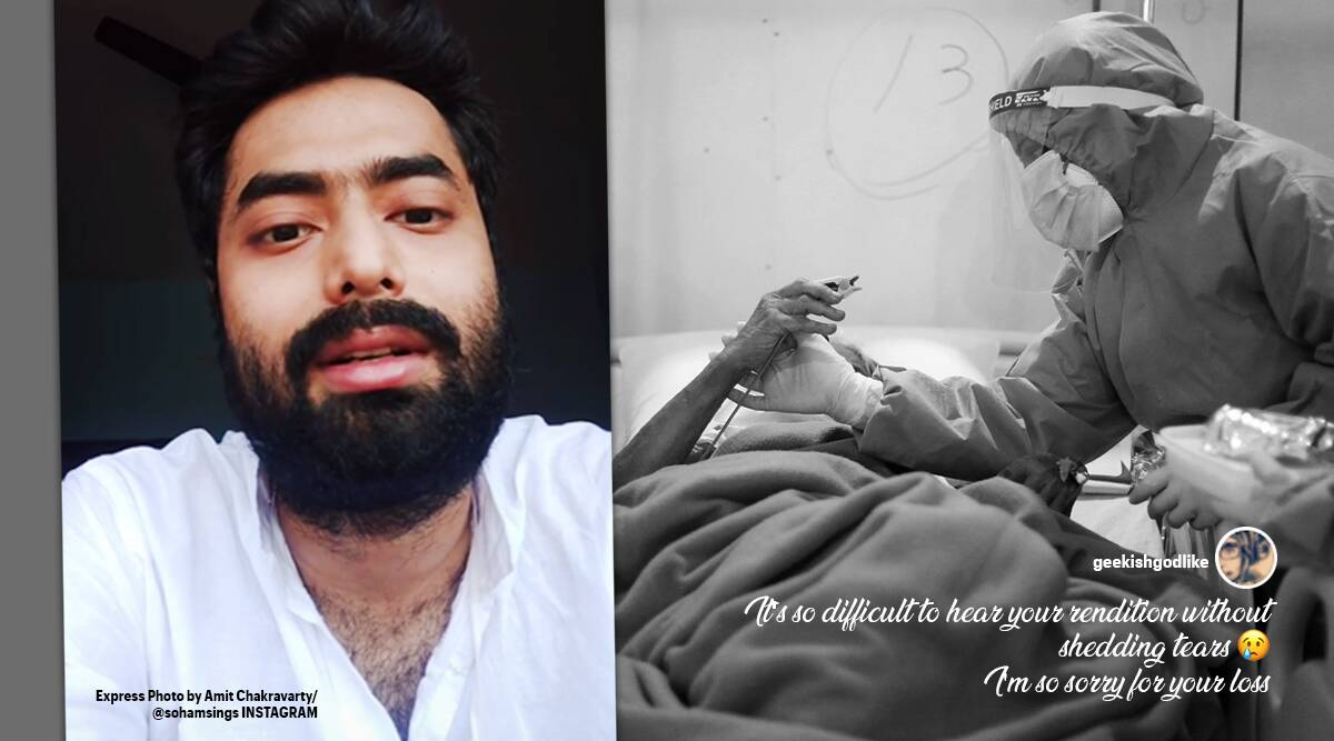 son sing tera mujhse hai pehle na ka nata koi, man sings for his dying mother, man sings mother dying of covid, covid 19 stories, viral news, Trending news, indian express