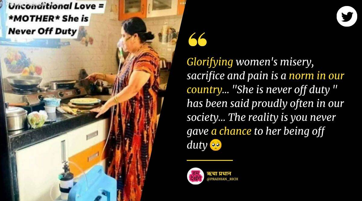 woman cooking oxygen support, mother cooking oxygen support, viral photo mother cooking with oxygen, mother unconditional love, indian express