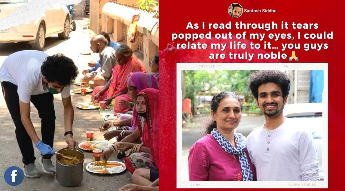 covid heroes, mother son duo feed needy daily, Mumbai restaurant feed poor for free, mother son feed poor during pandemic, good news, viral news, indian express news