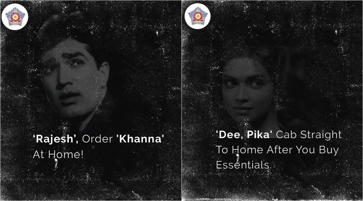 mumbai police, mumbai police bollywood memes, mumbai police funny tweets, mumbai police bollywood actors lockdown posts, viral news, indian express