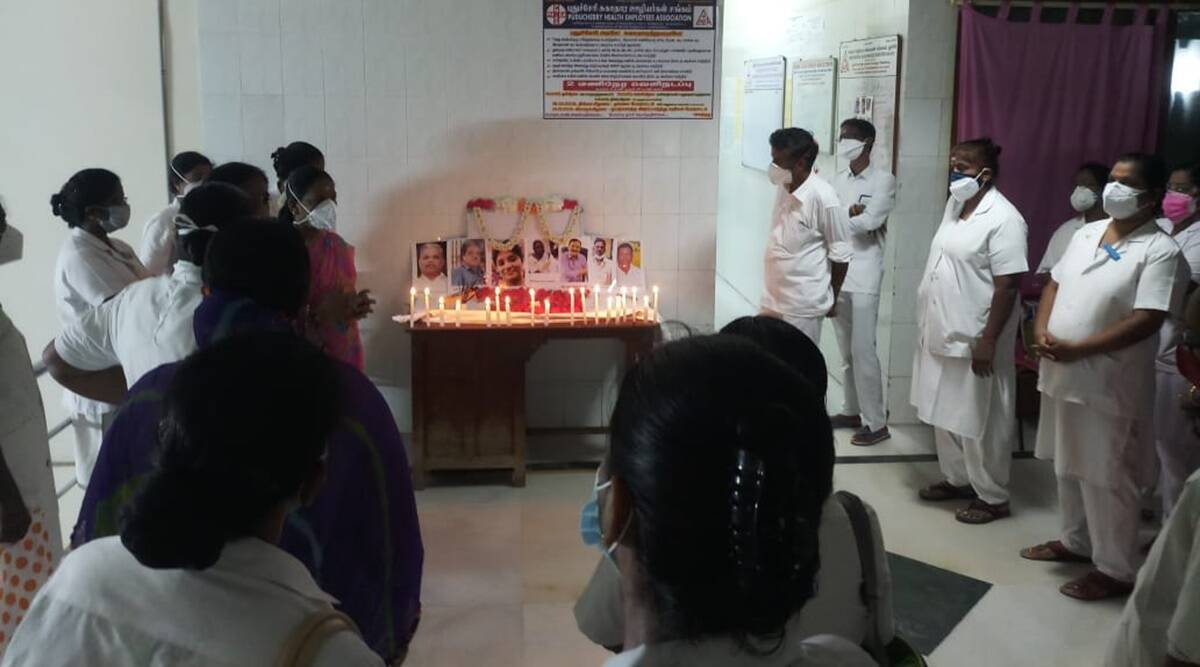 Puducherry nurses ppe protest, indira gandhi hospital puducherry, puducherry covid news, Tamilisai Soundararajan, indian express