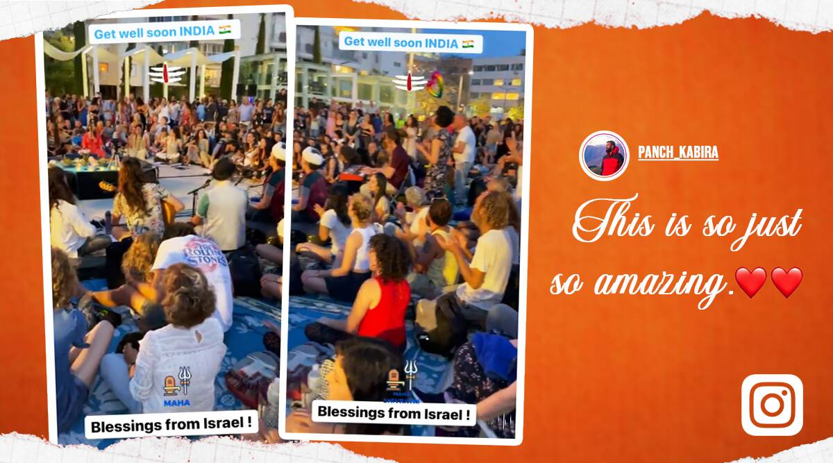 israelis Chant 'Om Namah Shivay', israelis Om Namah Shivay' viral video, israelis Om Namah Shivay' viral video, om shanti trending, covid, covid-19 cases, covid-19 pandemic, trending, indian express, indian express news