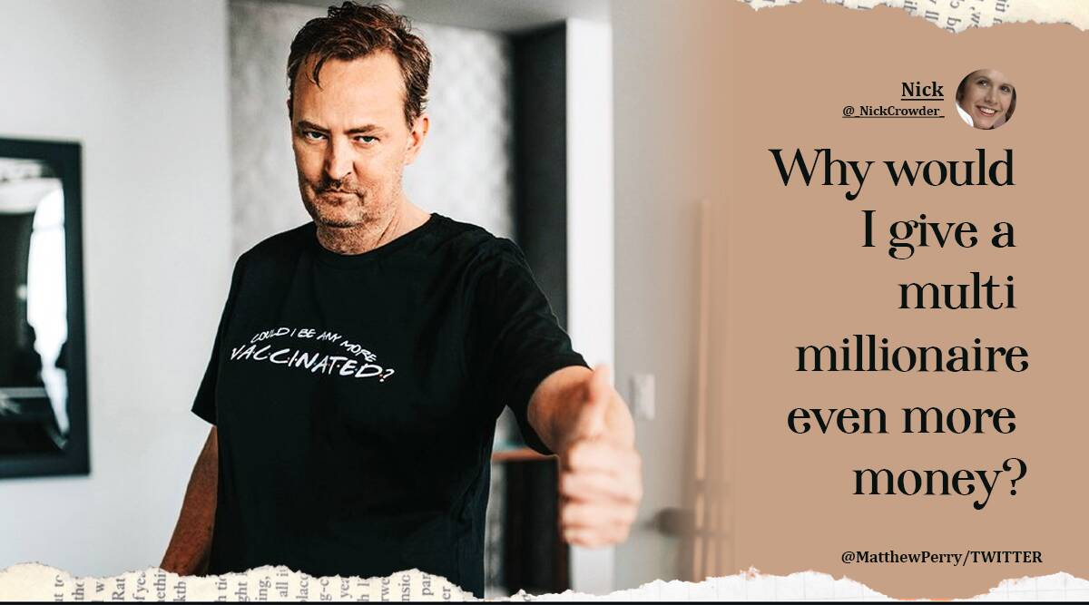 Fans divided over Matthew Perry's Friends themed vaccination t-shirt, some call it 'insensitive'