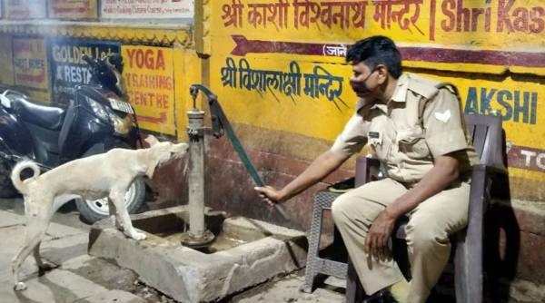 Varanasi, Varanasi cop, policeman gives water to dog viral picture, IPS Sukirti Madhav, twitter news, good news, trending, indian express, indian express news