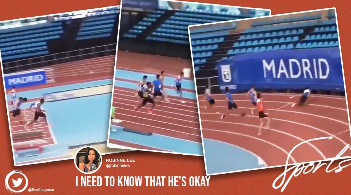 athlete, athlele falls through gaps, athlete gets hurt racing track, Rex Chapman, twitter reactions, trending, indian express, indian express news