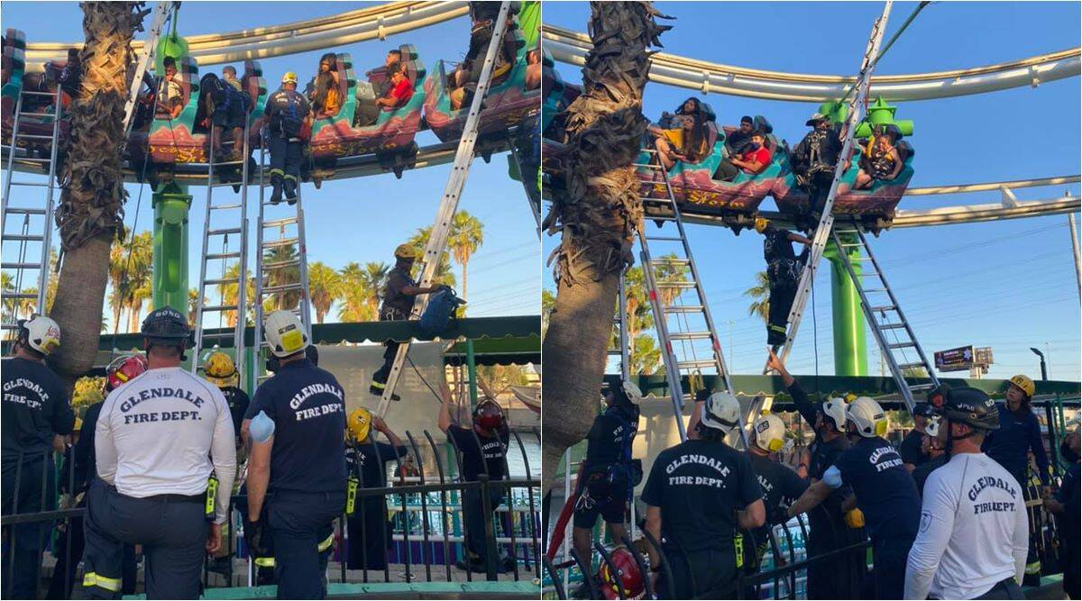 roller coaster stops midway, rollercoaster stop mid ride, fire dept rescue roller coaster riders, odd news, viral videos, indian express
