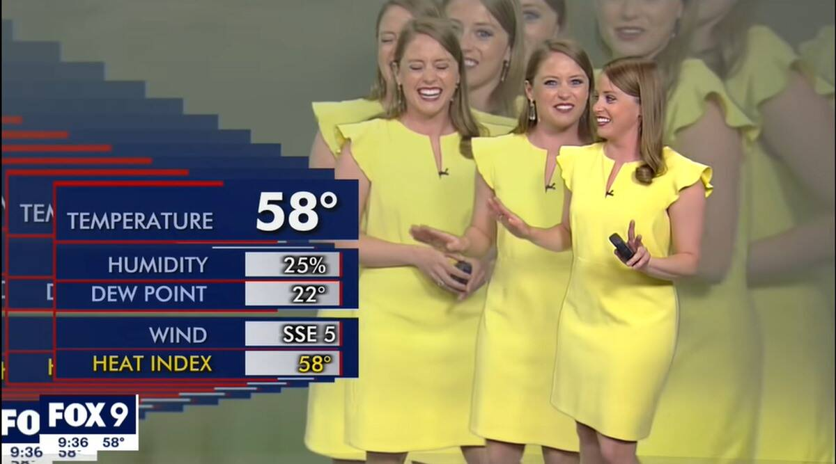 weather report glitch, fox 9 Meteorologist weather report glitch, weather reporter psychedelic error video, viral videos, indian express