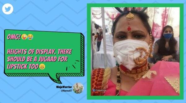 woman wears jewelry over mask viral picture, woman wedding jugaad viral picture, woman wedding, woman wedding make up, wedding jewelry, covid, covid 19, trending, indian express, indian express news