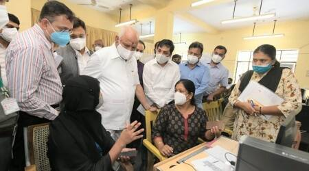 bangalore covid triage centres, bangalore covid news, BBMP covid triage centre, tejasvi surya, indian express