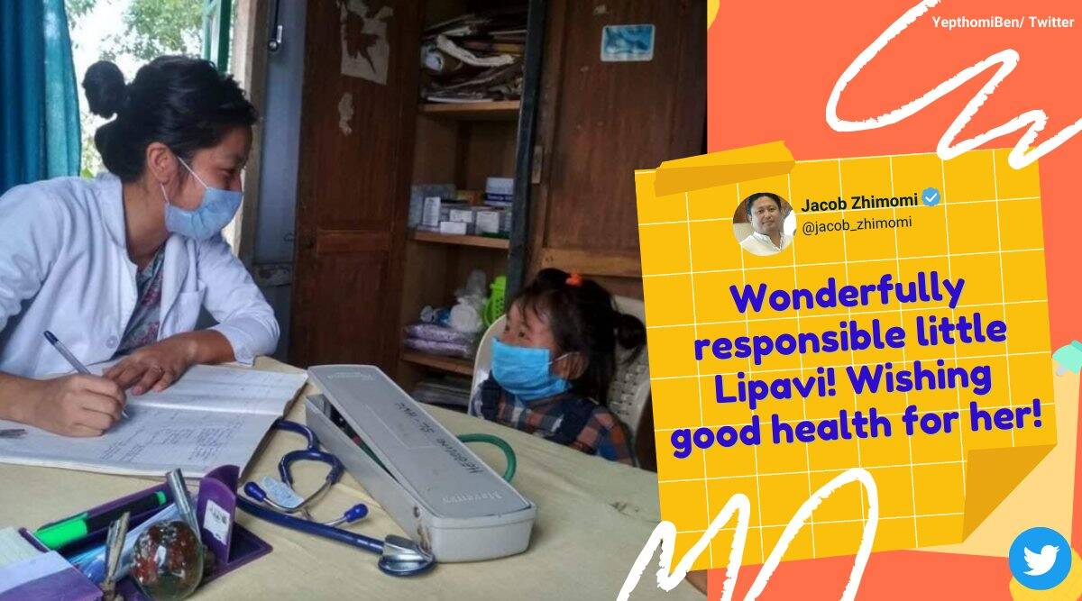 nagaland little go to health centre alone, 3 year old goes to doctor alone for checkup, Lipavi nagaland doctor viral photo, good news, indian express