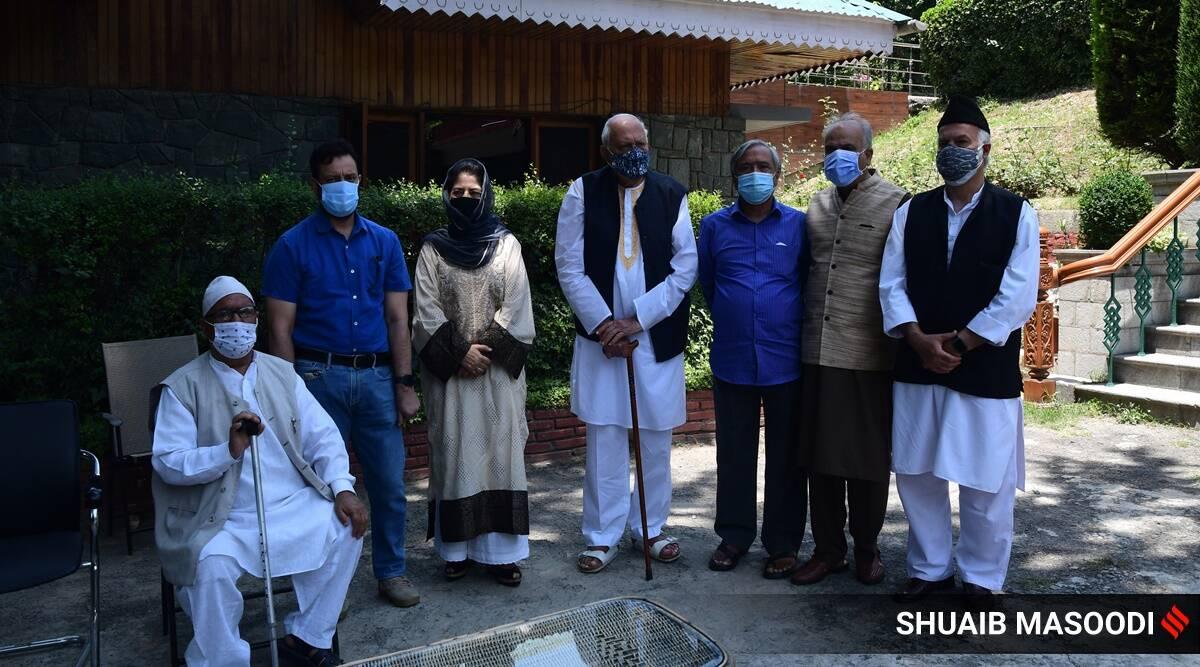 Farooq Abdullah, Omar Abdullah, Mehbooba Mufti, Muzaffar Hussain Baig, Sajad Lone, Yousuf Tarigami, Ravinder Raina, Bhim Singh, PM Kashmir leaders meet, india news, indian express