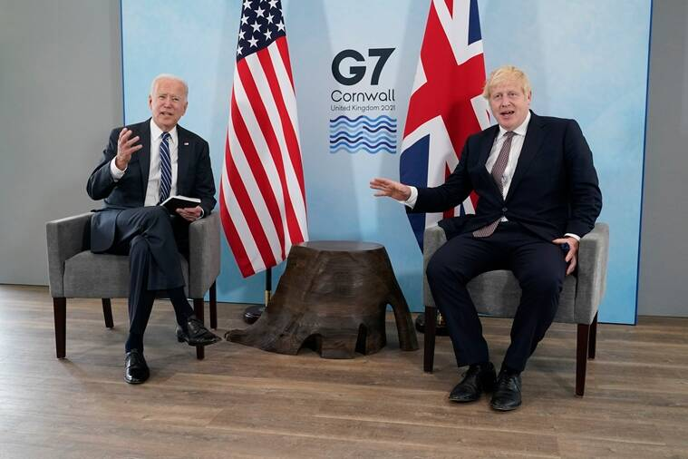Joe Biden, Boris Johnson, Biden Johnson summit, Atlantic Charter, G7 summit, Atlantic Charter China, Atlantic Charter china russia, USA and UK charter, USA and UK, America, Britain, USA news, UK news, British news, American news, world news, Indian Express