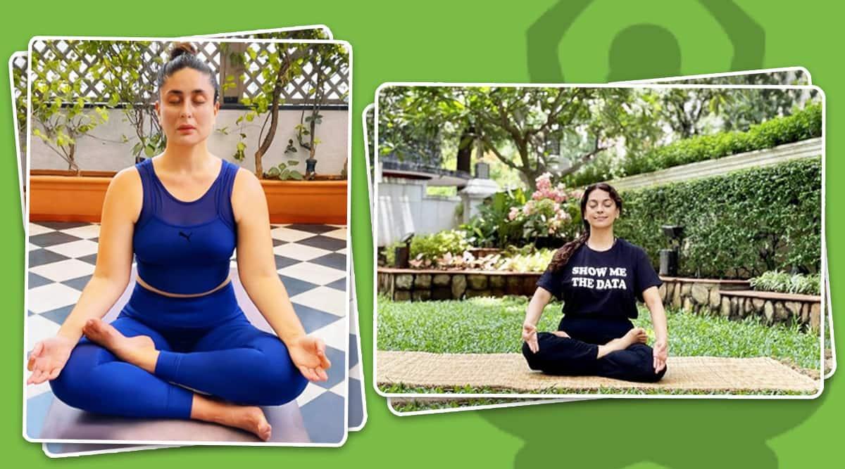 kareena kapoor khan yoga, juhi chawla yoga, yoga practice, how to do lotus pose, padmasana, indianexpress.com, indianexpress,