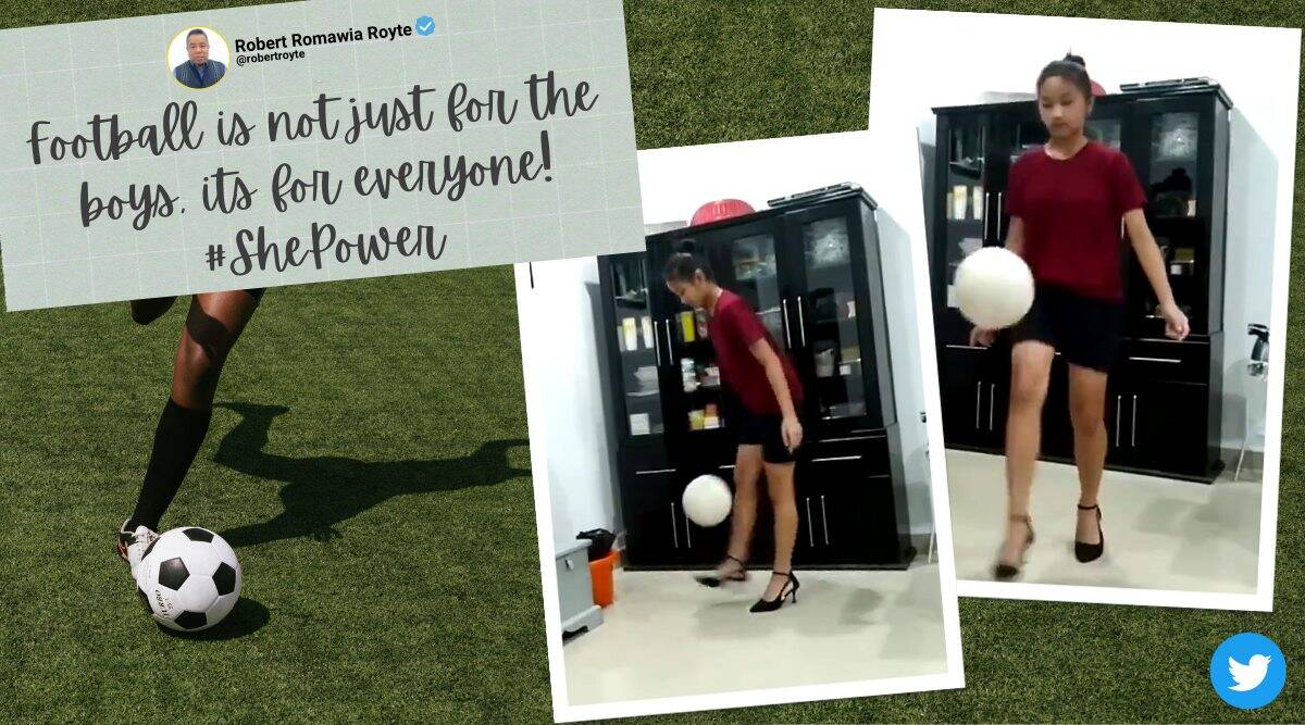 girl play football with heels, mizo girl keepy-uppy challenge, cindy colney football wearing heels, Cindy Remruatpuii, viral video, indian express