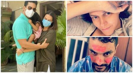 Neha Dhupia and Angad Bedi daughter Mehr 'preferred canvas is mamas hands and daddy's face'