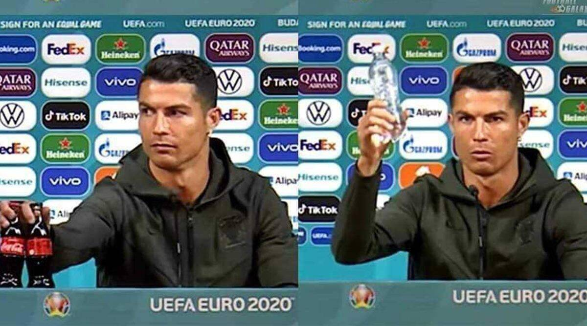 Watch: Ronaldo removes cola bottles at Euro presser, advises to drink water | Sports News,The Indian Express