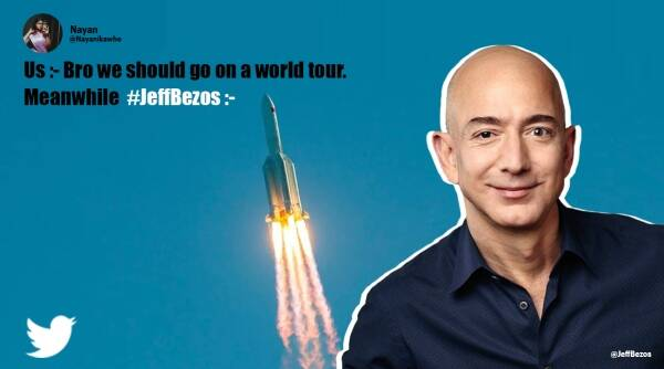 Jeff Bezos, Space travel with brother, Twitter reaction, Blue Origin, Jeff Bezos and brother in space memes, Jeff Bezos space travel jokes, Viral news, Indian Express news