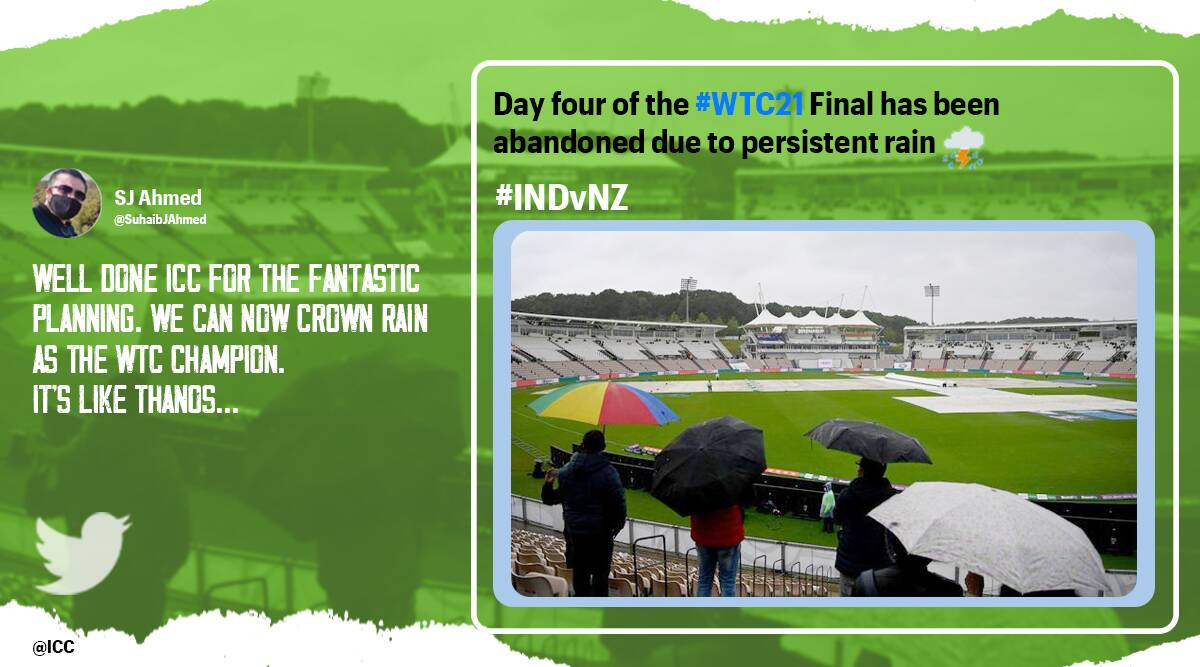 World Test Championship, World Test Championship memes, World Test Championship match abandoned rain, World Test Championship rain disrupts match memes, WTC rain memes, WTC India and new Zealand, Southampton weather memes, ICC, BCCI, Sports news, Cricket news, Trending news, Indian Express news