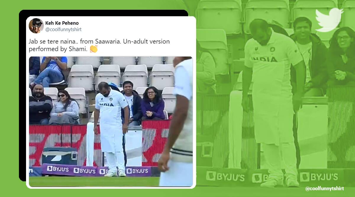 WTC, Mohammed Shami towel, Twitter reaction, WTC2021, WTC Mohammed Shami towel memes, Mohammed Shami towel memes, Mohammed Shami towel Twitter reaction, Viral video, Trending news, Indian express news