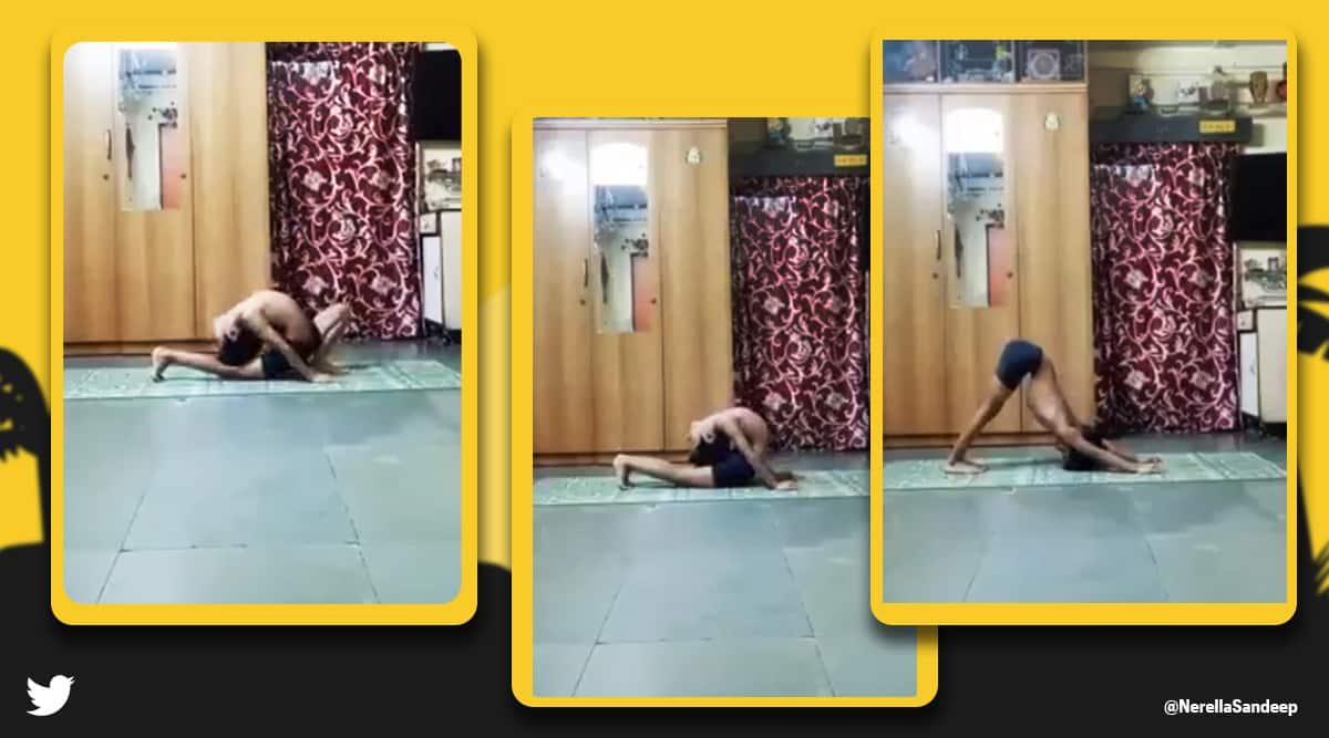 International Yoga Day, Yoga Day 2021, international day of yoga 2021, Boy Surya namaskar viral video, Yoga Day challenge, Konda Vishweshwar Reddy yoga day challenge and reward, Konda Vishweshwar Reddy Twitter, Viral video, trending news, Indian Express news.