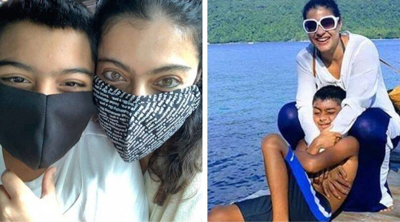 Kajol and Yug's son are 'disguised bandits' in the last photo.  See image