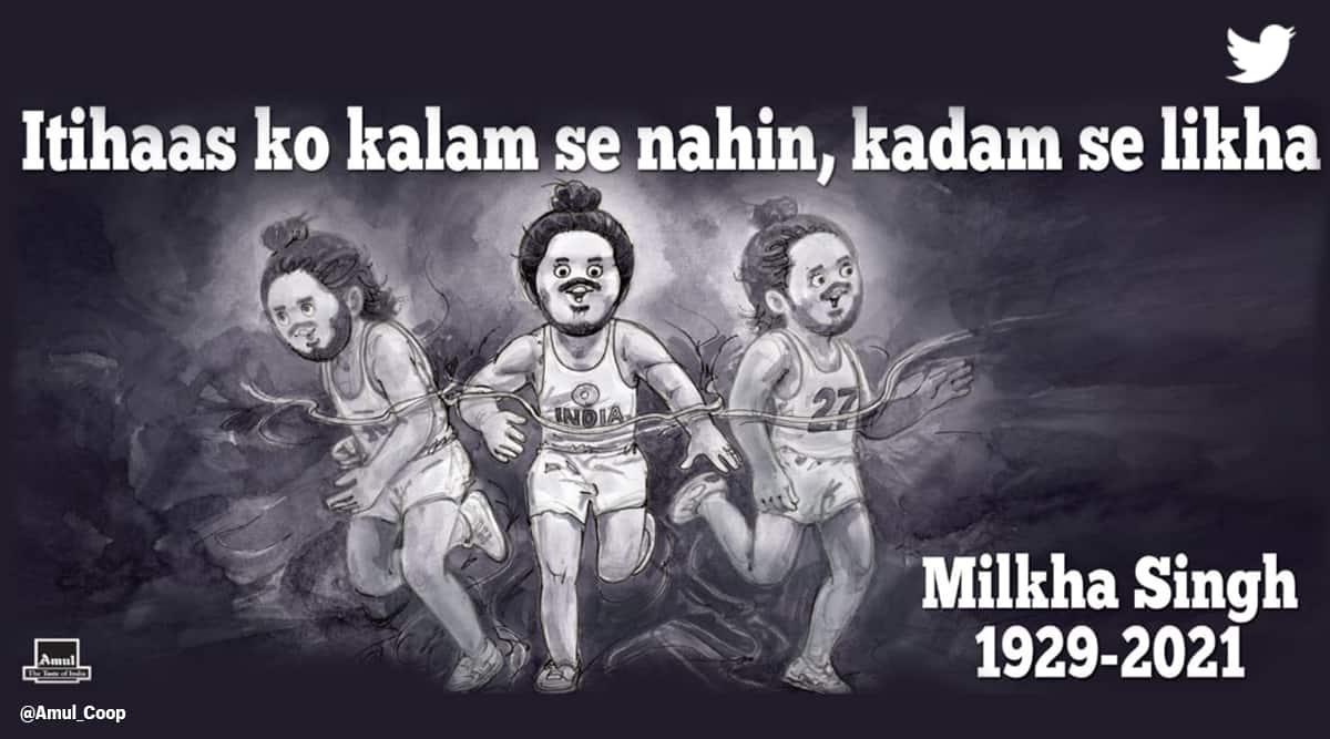 Milkha Singh death, Milkha Singh Amul, Milkha Singh, flying Sikh Milkha Singh, Amul topical, Amul doodle, tribute Milkha Singh, Bhaag Milkha Bhaag, Milkha Singh images, Milkha Singh news, trending news, Indian Express news