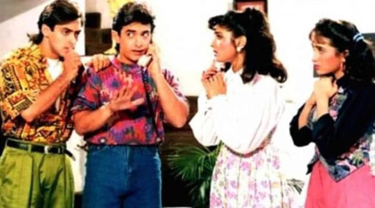 When Raveena Tandon and Karisma Kapoor were joined by Salman Khan in the Aamir Andaz Apna Apna sets