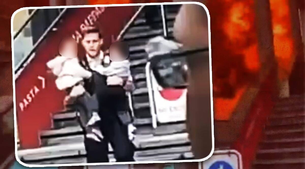 london fire, Elephant Castle fire, police officer saves two children burning station viral video, london fire cause, london twitter reactions, indian express, indian express news