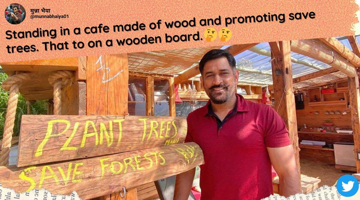 MS Dhoni, Dhoni plant trees backlash, dhoni plant tree wooden plank photo, ms dhoni shimla holiday pics, dhoni himachal holiday pics, cricket news, indian express