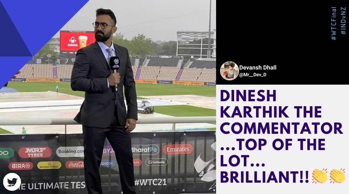 wtc final, ind vs nz, india vs new zealand, dinesh karthik commentary, Nasser Hussain, Nasser Hussain dinesh karthi, sports news, cricket news, indian express