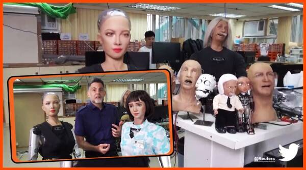 humanoid grace, humanoid sofie, the healthcare robot COVID-19, hong kong, humanoid robot covid health care, covid, covid 19, twitter reactions, Indian express news