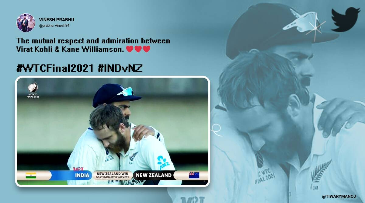 WTC final, India vs New Zealand, Virat Kohli, Kane Williamson, Virat Kohli Kane Williamson hugging picture, Virat Kohli Kane Williamson memes, Trending news, Indian express news