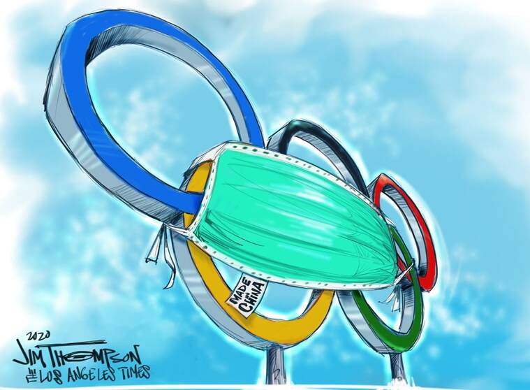 masked rings. by Jim Thompson USA Cartoon tune-up to Tokyo Olympics