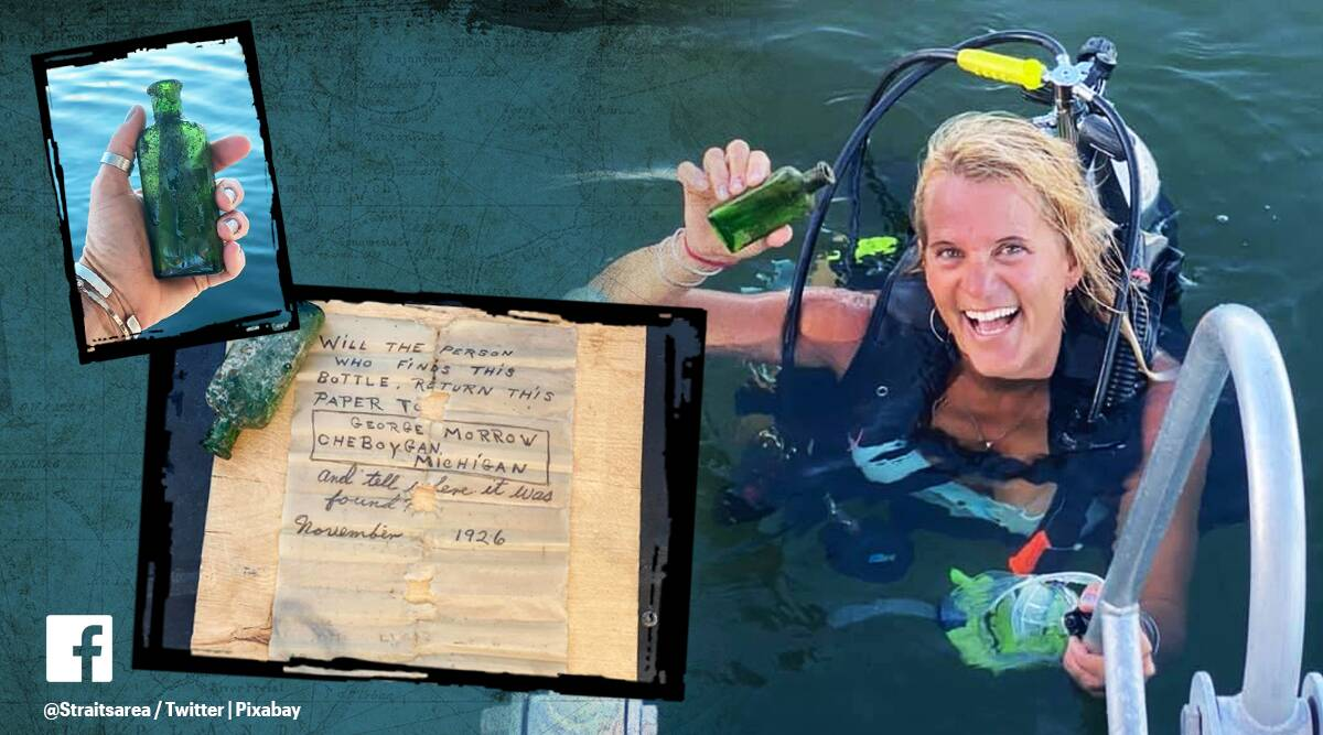 message in a bottle Michigan, message in a bottle story, scuba diving message in a bottle, bottles in water, Facebook message in a bottle, trending news, indian express news