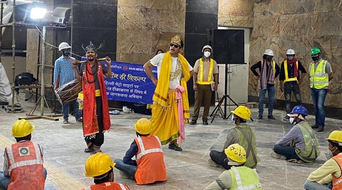 Street plays on Covid-19 vaccination at Delhi metro construction sites