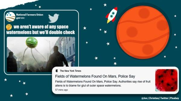 new york times, nyt watermelon mars article, watermelon found in mars, mars watermelon memes, newspaper bloopers, funny news, indian express
