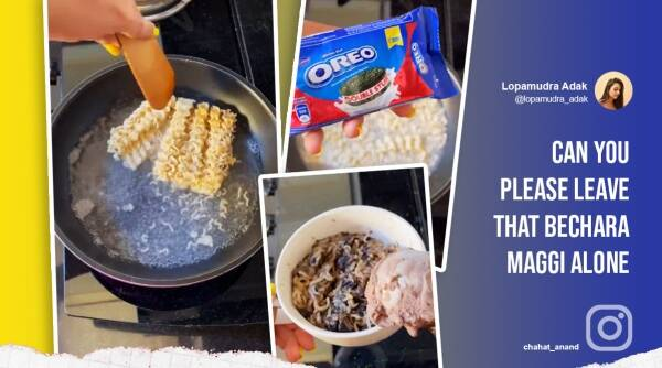 oreo maggi, sweet maggi recipe, weird food combination, dessert maggi, maggi experiment, oreo icecream maggi, viral videos, indian express
