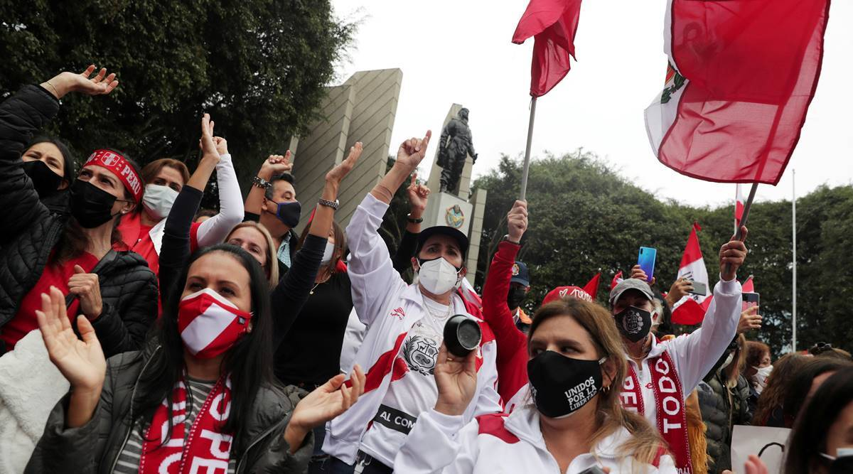 Peruvians take to the streets in Lima amid fears over election meddling
