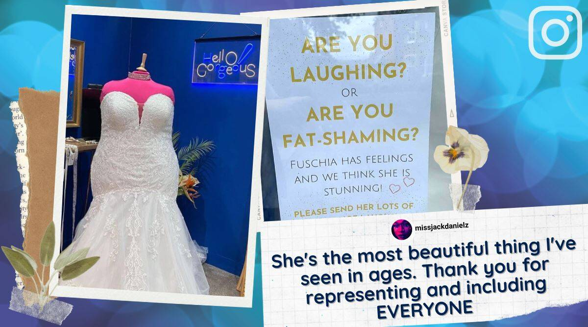 plus size mannequin fatshammed, bridal store large size mannequin fat shamming, uk bridal store mannequin laughed at, viral news, indian express