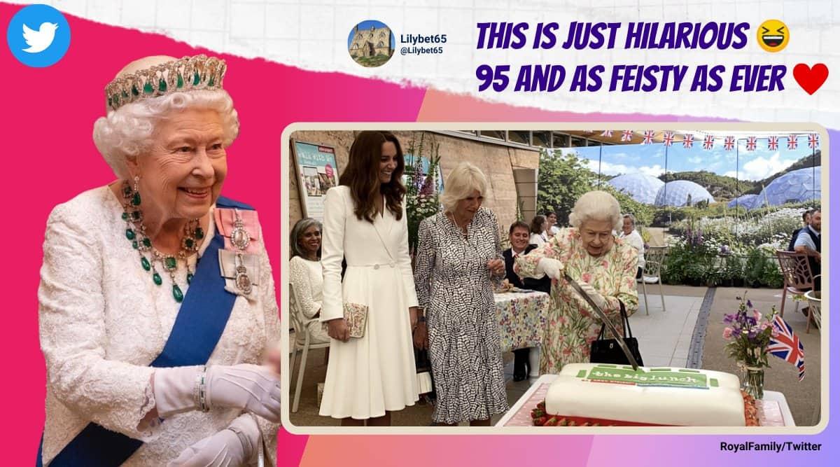 queen elizabeth II, g7 queen elizabeth, queen cuts cake with sword, queen cuts birthday cake sword, queen g7 leaders funny moment, viral videos, Indian express