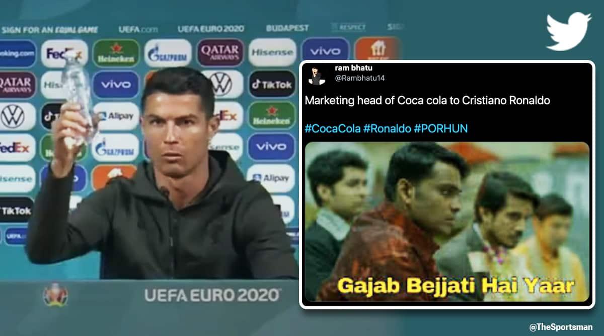 Ronaldo Coca Cola memes, Ronaldo Coca Cola, Ronaldo, Coca Cola, Ronaldo removes cola bottles, euro 2020 Coca Cola, euro 2020, euro 2020 Ronaldo, Ronaldo memes, Coca Cola memes, trending news, Indian Express news