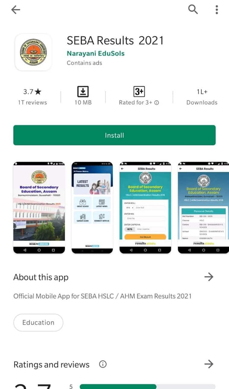 Assam Board SEBA HSLC Result 2021: