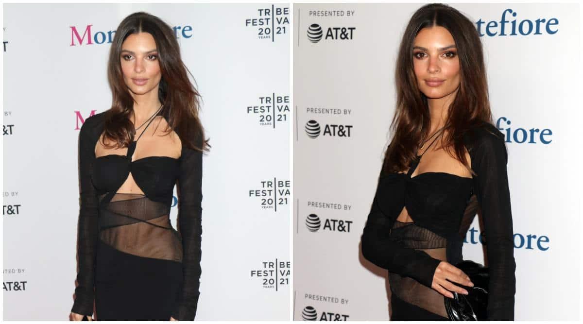 Tribeca Film Festival: New mom Emily Ratajkowski wows in a black strappy dress