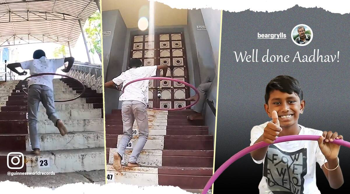 world record hula hoop, fastest stairs hula hoop record, Guinness world records, bear grylls, hula hoop, fastest stairs record, world record, viral video, trending video, trending news, Indian Express news