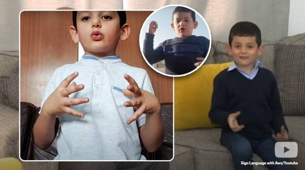 youngest sign language teacher, sign language teacher, sign language tutor, sign language Jordan, sign language YouTube, sign language 5 year old boy, ASL, trending videos, trending news, Indian Express news